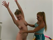 Seduction of a shy trainee at a lesbian sport less...
