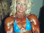 Great shots backstage of the women bodybuilders pu...