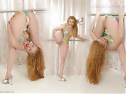 Young women perform various gymnastic and yoga exe...
