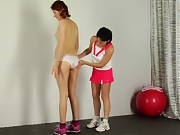 Fitball lesbian sexercises after nude yoga stretch...