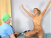 Nude sport exercises and teen mouth exam