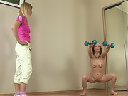Naked gym girl trained and toyed by a lezzy