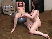 Naked girl gets satisfied during lesbian training