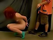 Gymnastic redhead forced to scrub floor naked
