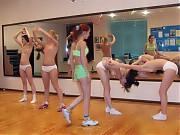 Kinky coach training a naked cheerleading squad