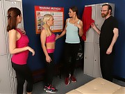 Three girls are looking round the best gym in the ...
