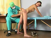 Undressed and bent over sports medical patient