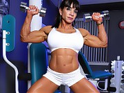 Bodybuilder Marina Lopez works out then strips off...