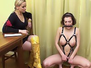 Gagged and body-harnessed gymnast with big boobs