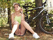 Girls and amateur teens in bicycle
