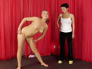 Special nude exercising of a flexible obedient gir...
